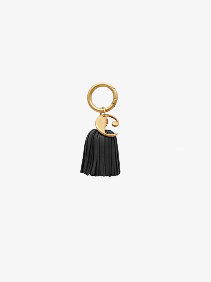 BLACK POMPOM KEY RING