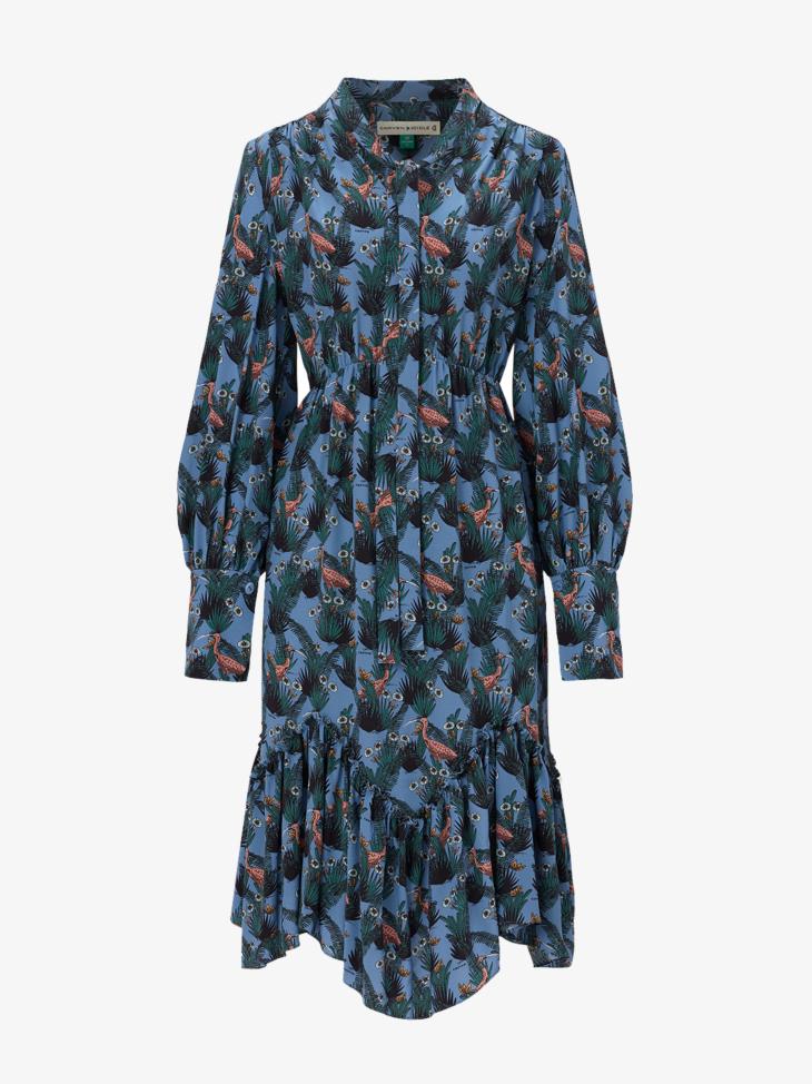 TROPICAL PRINTED SILK DRESS