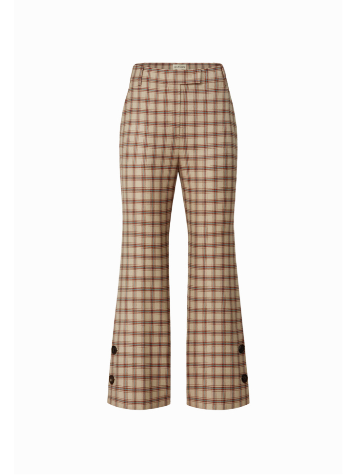 EUSTACE CHECK FLARED WOOL TROUSERS
