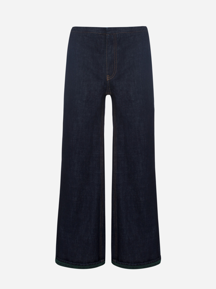 Cropped flared denim jeans