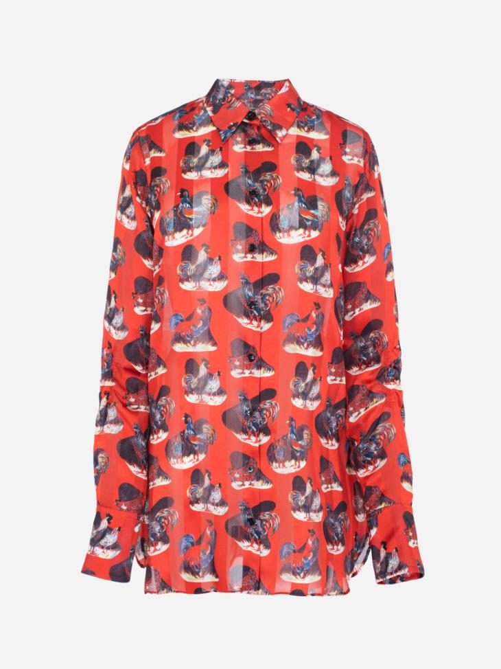 Rooster print silk shirt