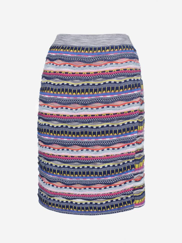 Textured Striped Cotton Blend Skirt