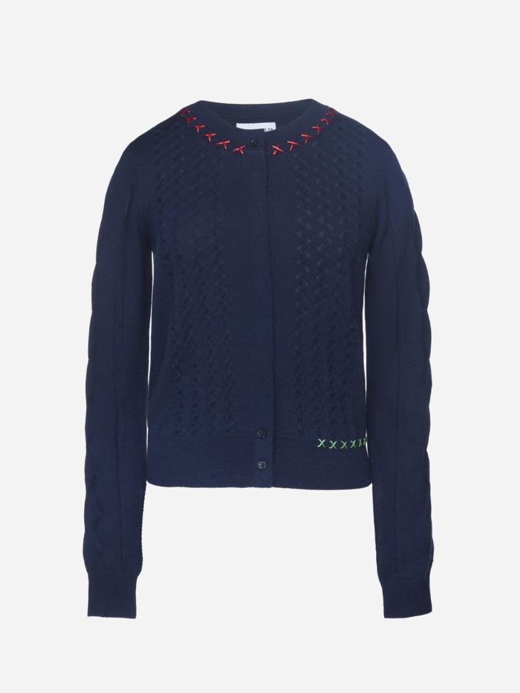 Cross Stitch Merino Wool Cardigan
