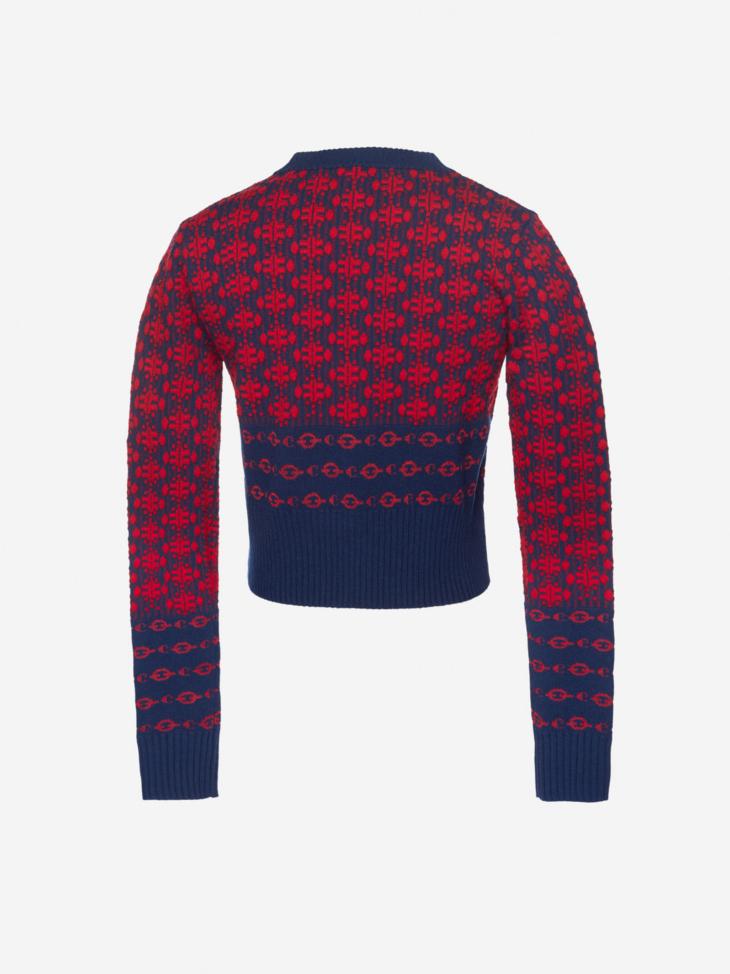 Geometric Cotton and Wool Jacquard Sweater