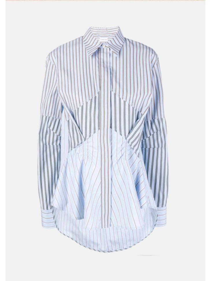 Striped Gathered Cotton Shirt