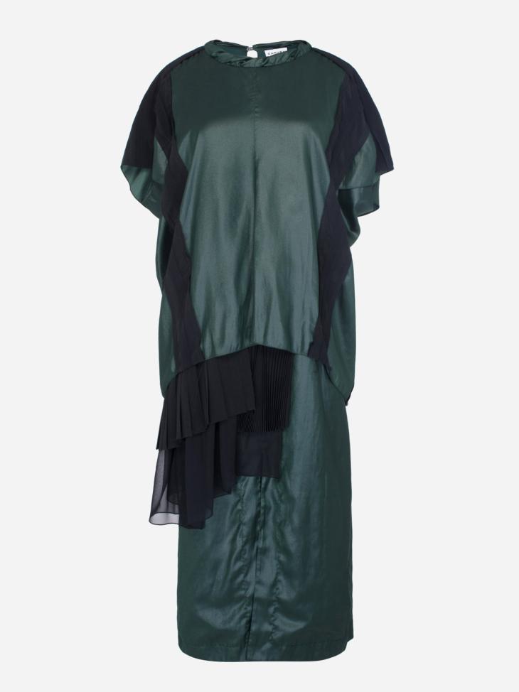 Liquid Satin Pleated Gown