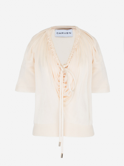 Short Sleeve Top with knitted cord necktie